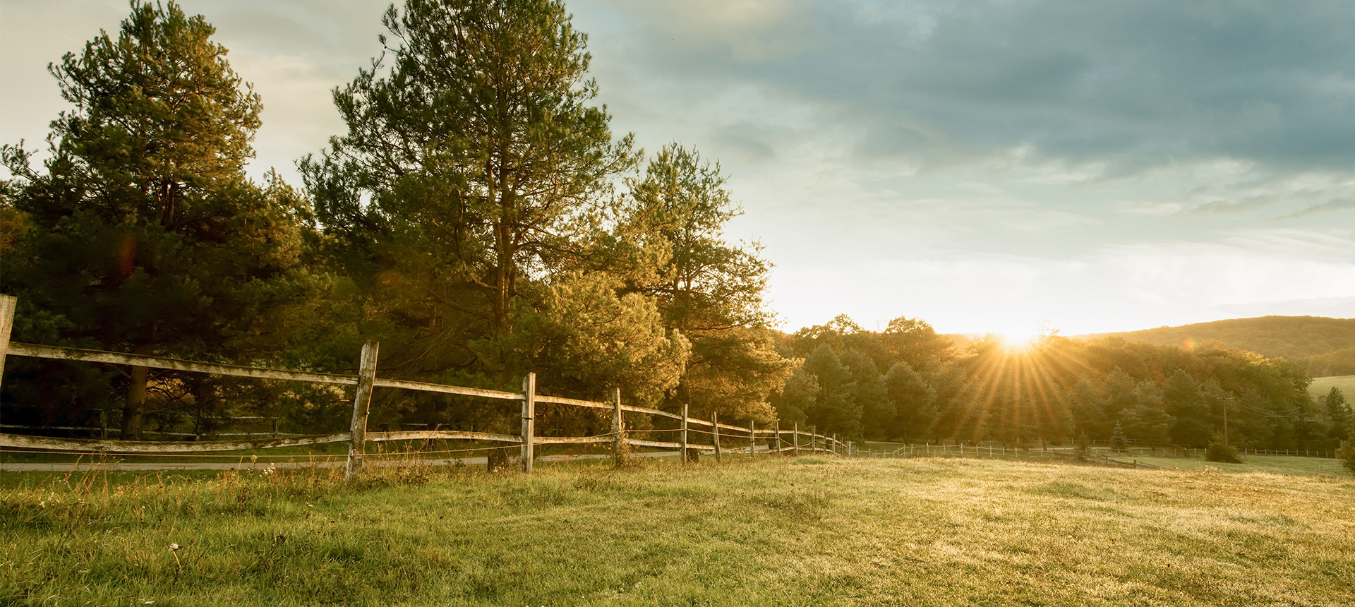 Fenced pasture land at sunrise